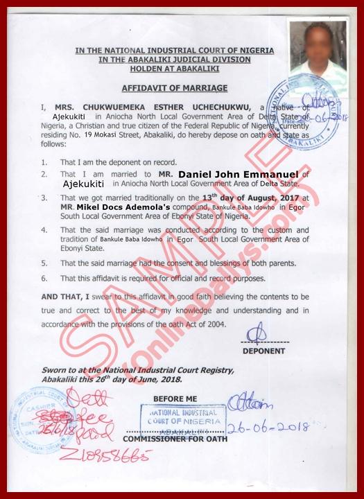 Affidavit of Mariage