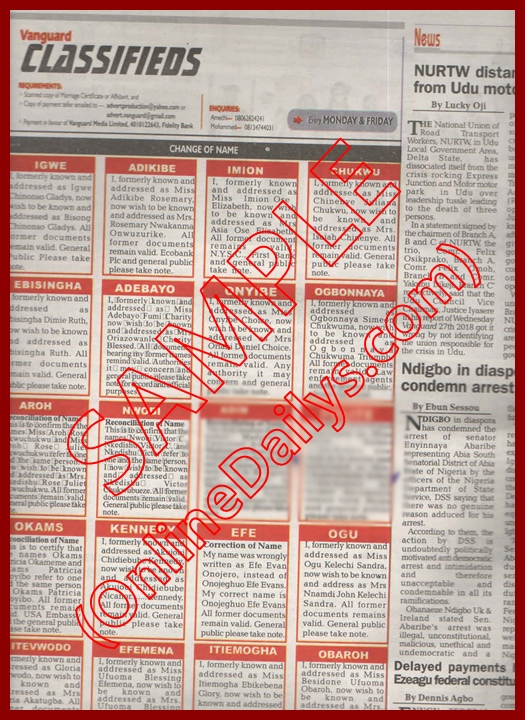 Samples of Change of Name Affidavit in Nigeria - PICTURES - USES