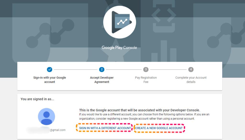 Google developer form page