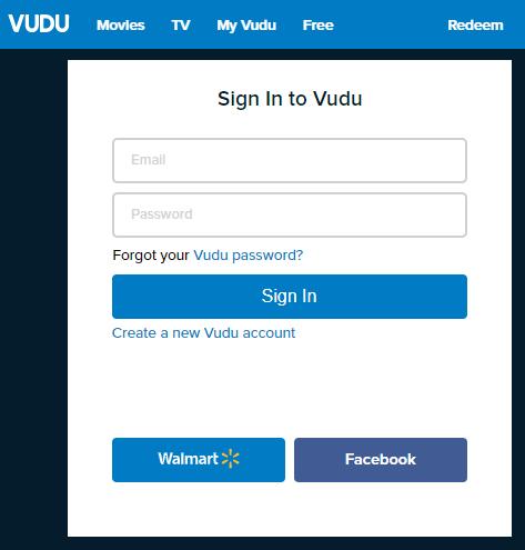 Vudo login page