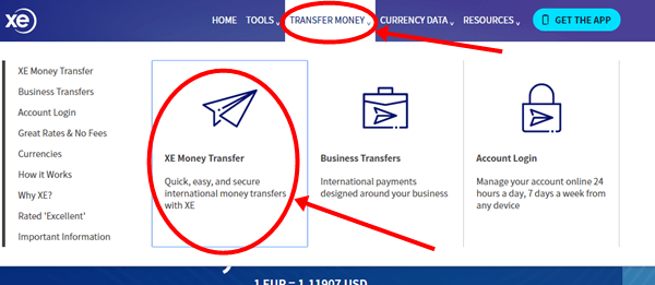 XE money transfer image