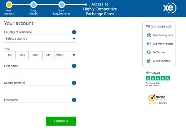XE registration Form image