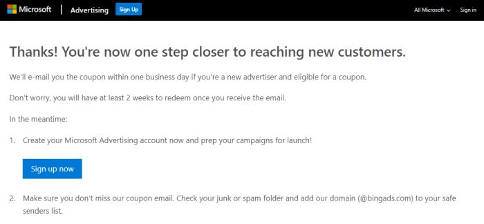 Bing MicroSoft Advertising signup submit image