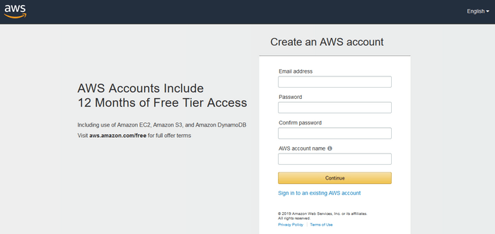 image of AWS cloud registration form