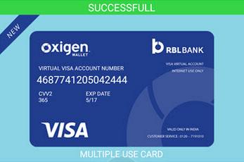 Image of Oxigen Wallet Virtual Card