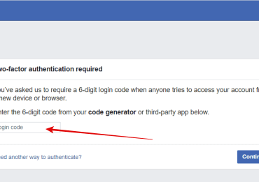 Image of Facebook Two-Factor Authentication
