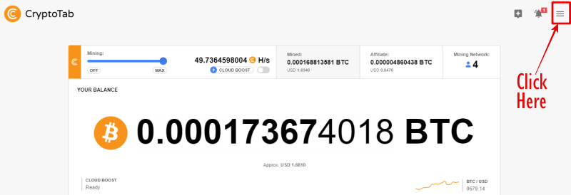 cryptoTab withdraw button