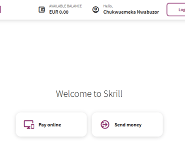 Skrill account dashboard