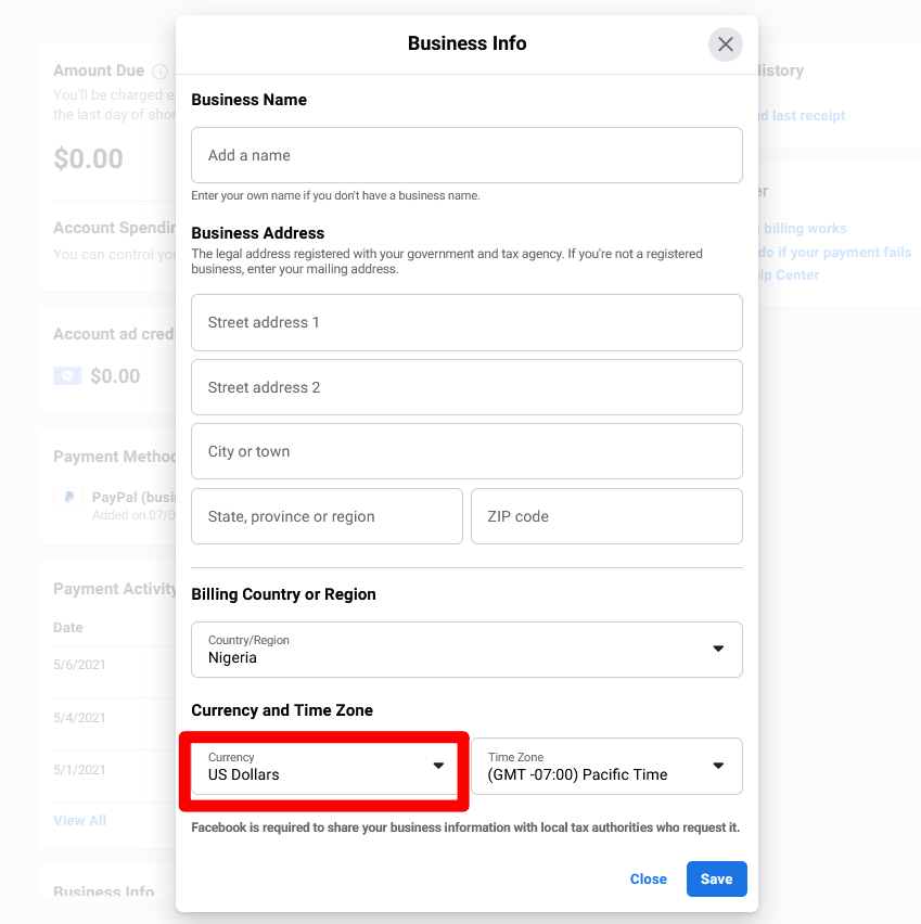 image of changing Facebook Billing Currency To Any Currency