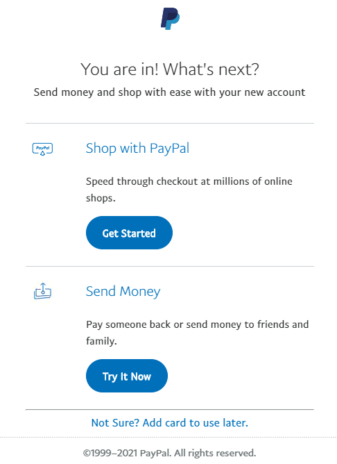 paypal account created-page