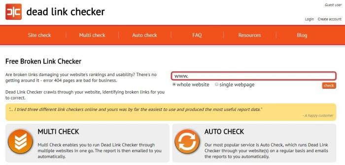 dead link checker - top free broken link checker site