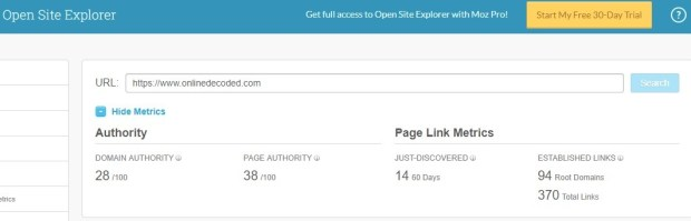 Moz Open Site Explorer - Free backlinks checker Tool