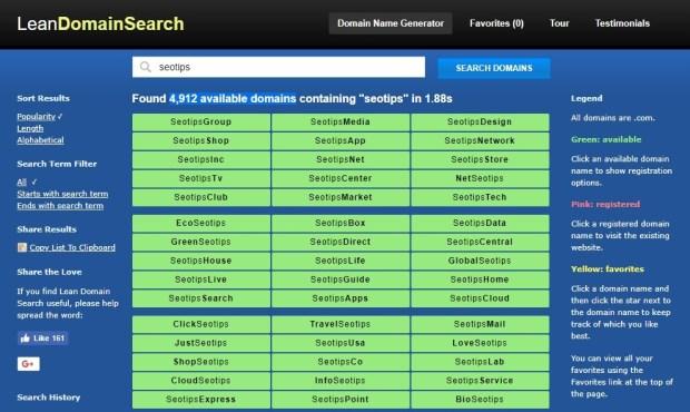 leandomainsearch - Top Best domain name generators