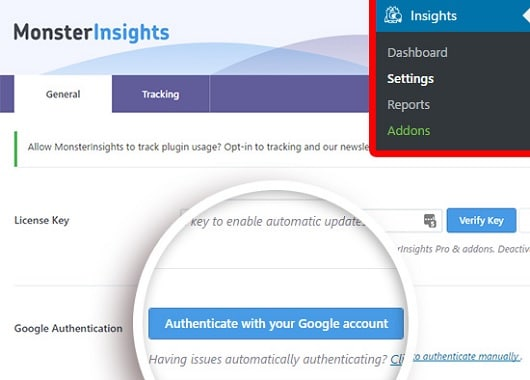 MonsterInsights Authentication with Google
