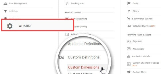 Click custom dimensions