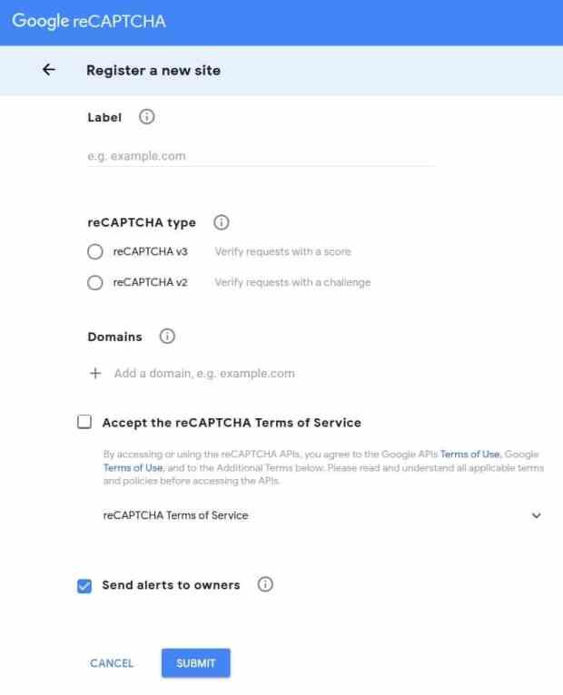 Adding domain to reCAPTCHA settings