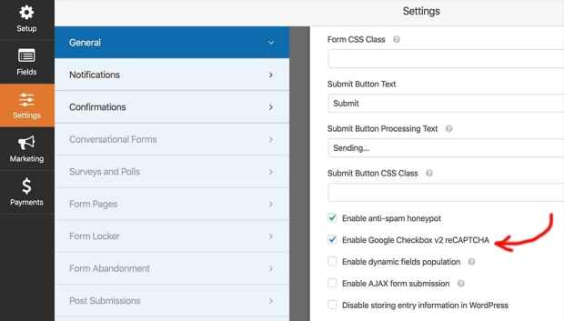 Enabling Google checkbox