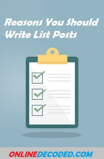Reasons You Should Write List Posts
