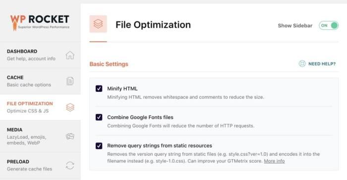WP Rocket Review - File Optimization