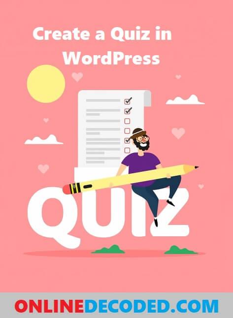 Create a quiz in WordPress Site - Pinterest Image