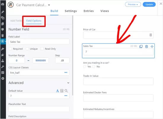 Customize car payment calculator form
