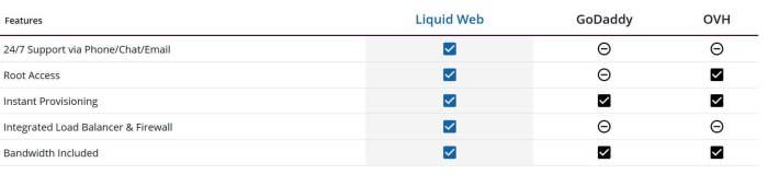 Liquid Web Comparison
