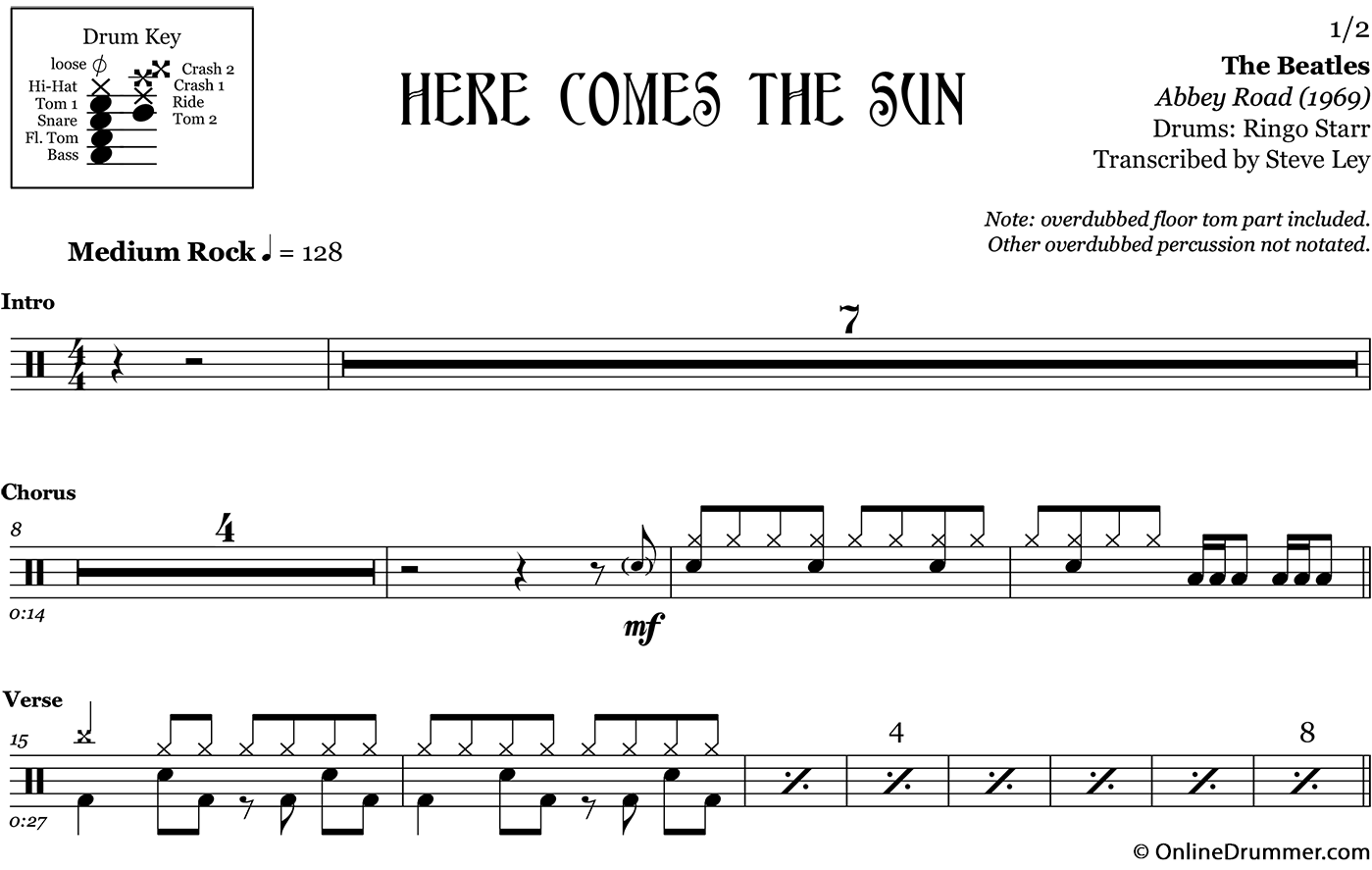 Here Comes The Sun The Beatles Drum Sheet Music
