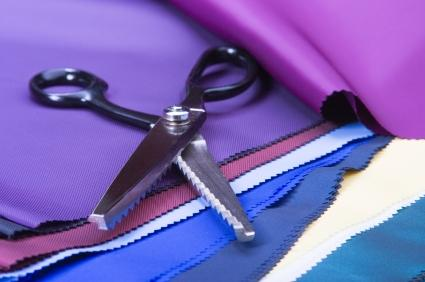 Traditional pink shears and pinked fabric