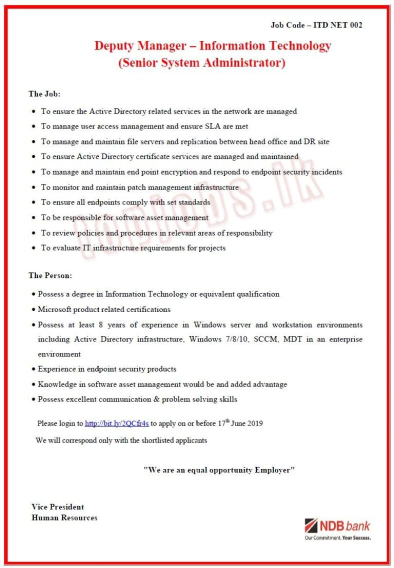 National Development Bank PLC Vacancies 2019 - OnlineJobs lk
