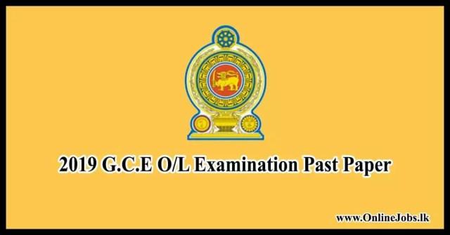 2019 G.C.E O/L Examination Past Paper