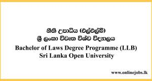 Bachelor of Laws Degree Programme (LLB) Sri Lanka Open University