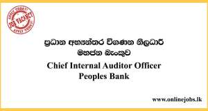 Chief Internal Auditor - Peoples Bank Vacancies 2020