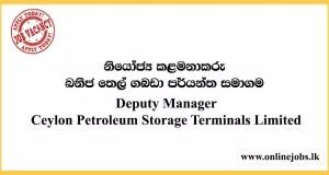 Deputy Manager - Ceylon Petroleum Storage Terminals Limited