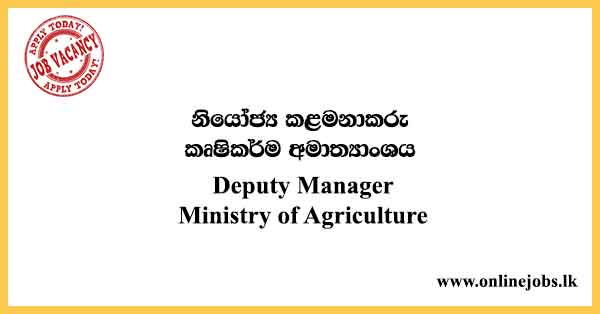 Deputy Manager - Ministry of Agriculture Vacancies 2021