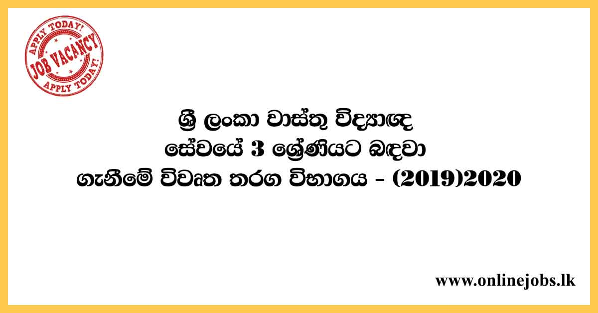 Examination for Recruitment to sri Lanka Architectural Service