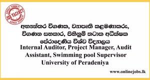 Internal Auditor, Project Manager, Audit Assistant, Swimming pool Supervisor- University of Peradeniya
