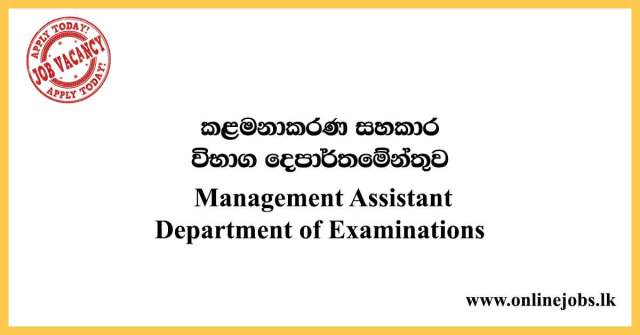 Management Assistant - Department of Examinations 2020