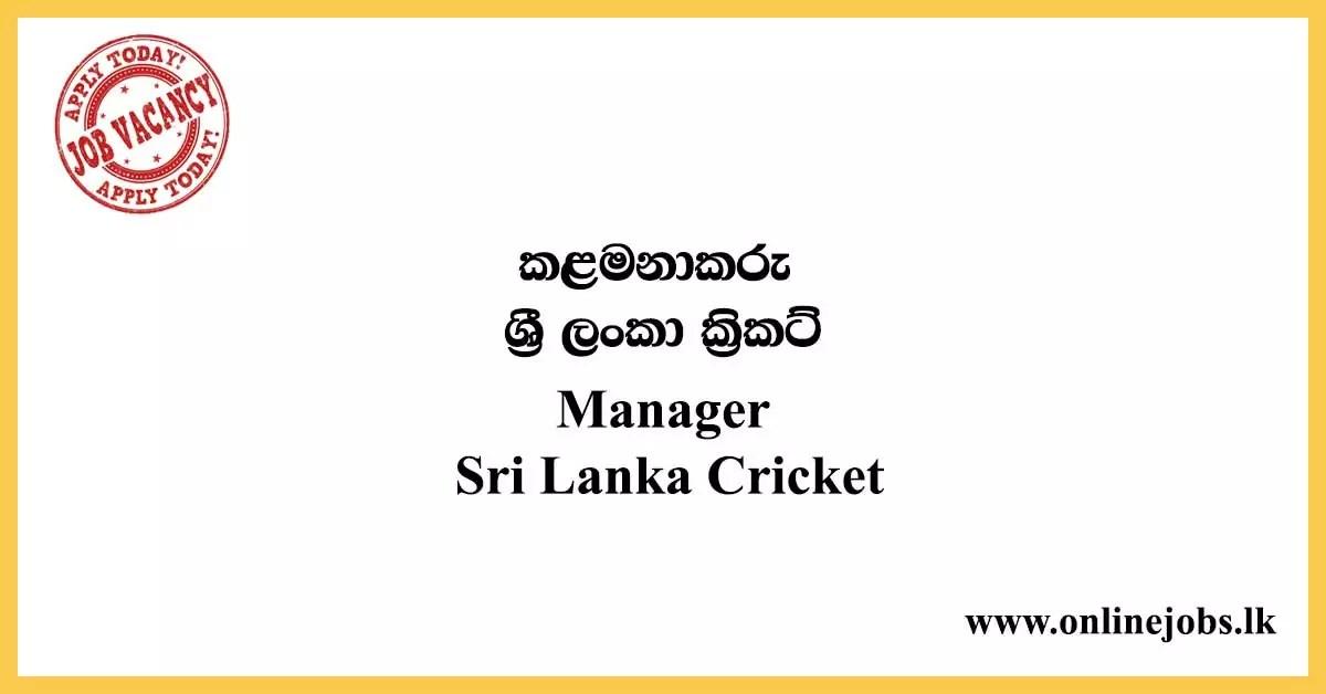 Manager - Sri Lanka Cricket Job Vacancies