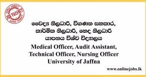 Medical Officer, Audit Assistant & More - University of Jaffna Vacancies 2020