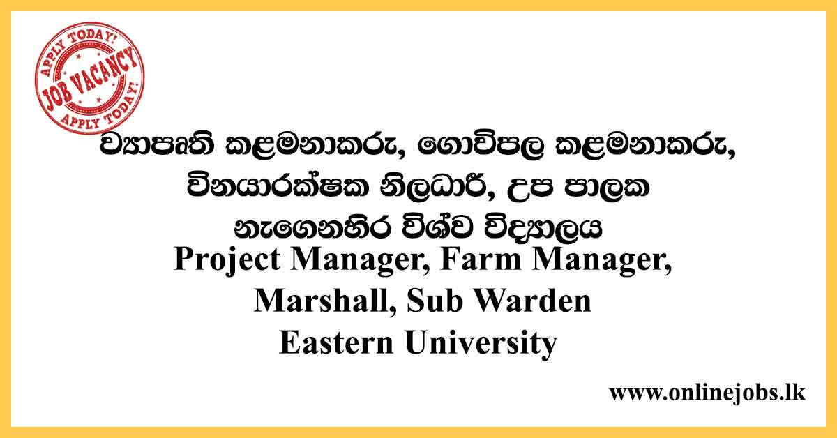 Project Manager - Eastern University Vacancies 2020