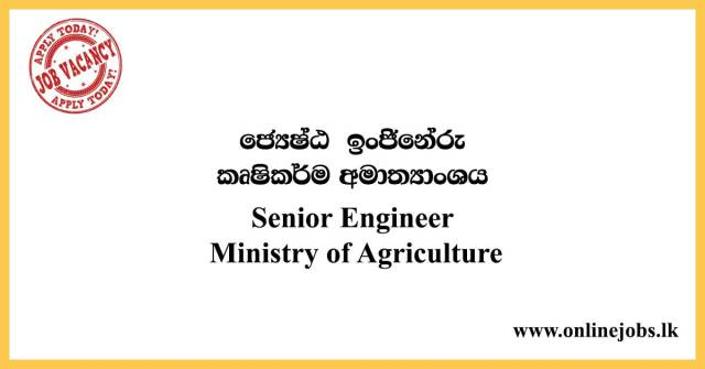 Senior Engineer - Ministry of Agriculture Job Vacancies