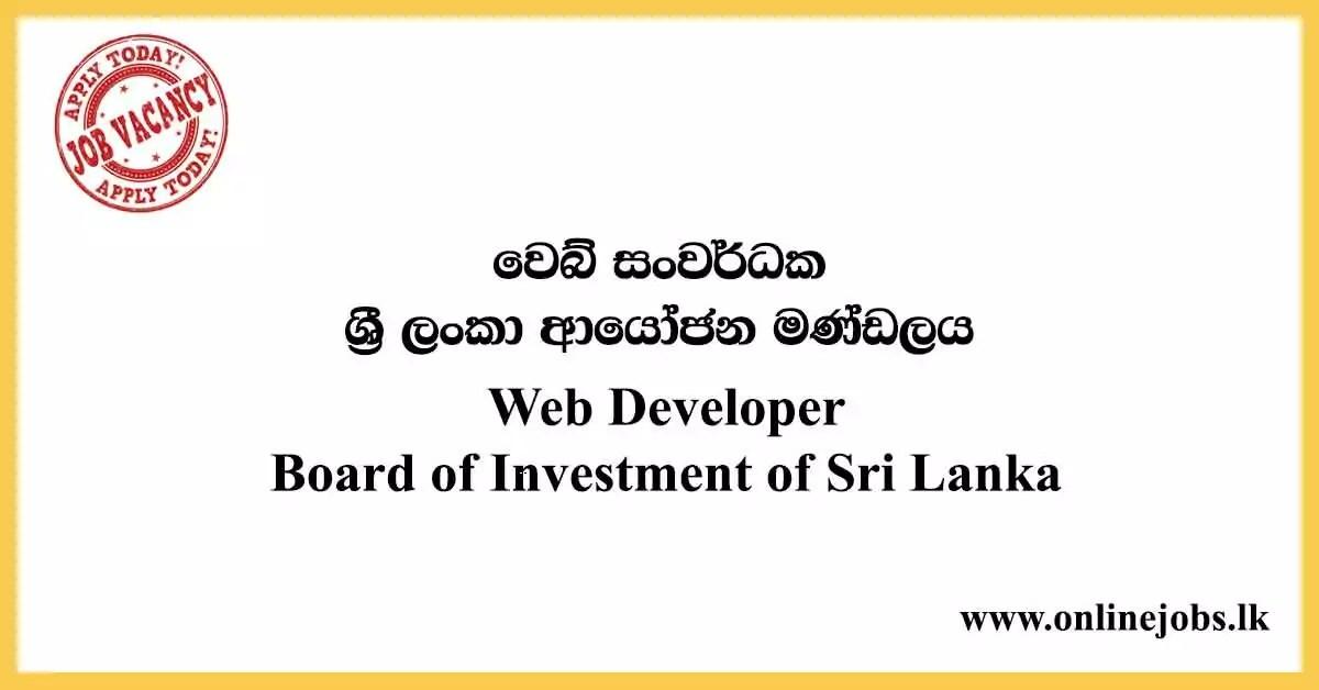 Web Developer - Board of Investment of Sri Lanka Vacancies 2020