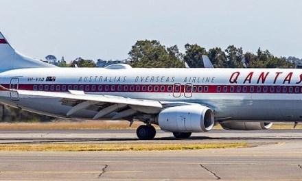 Qantas retro-style Boeing 737 suffers damage after vehicle crash