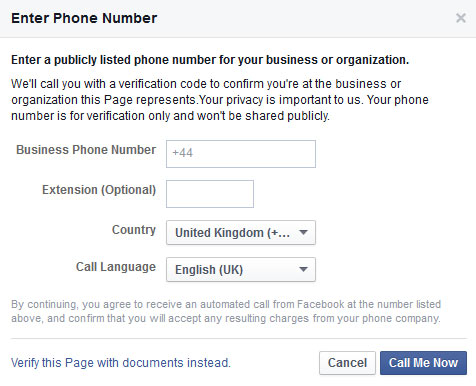 Verify Facebook Page by phone