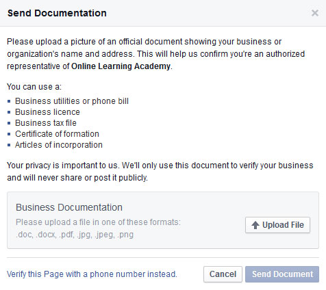 Verify Facebook Page via document upload