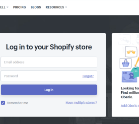 Image: Shopify login account page