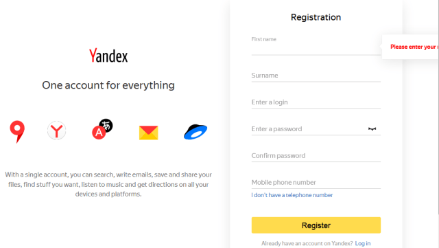 Yandex account registration form