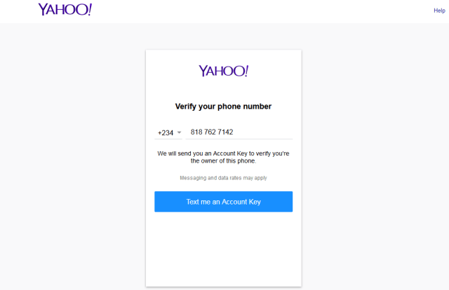 www.yahoo.com email verify phon number form