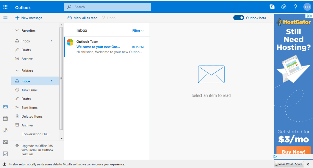 In your newly account, yo can be able to send and receive messages on Outlook