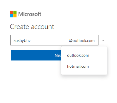 Select the type of email account you wish to use